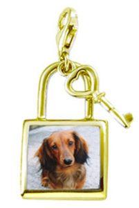 画像データから作るシルバー925セラミック加工キーチャームペンダントトップ。犬画像入り。